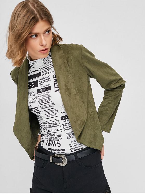 ZAFUL chaqueta abierta de gamuza sintética corta - Verde del ejército S