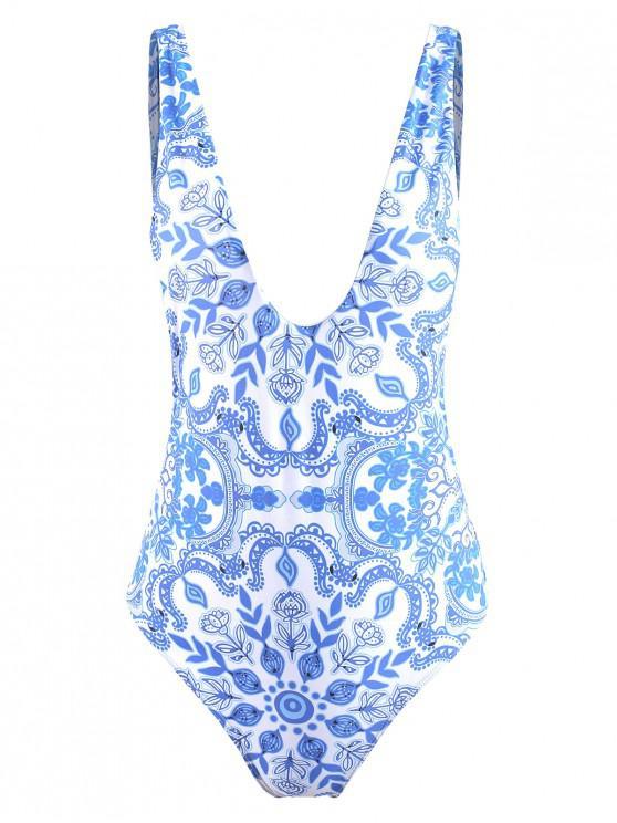 Costume Intero In Porcellana Con Schiena Aperta - Blu e Bianco L