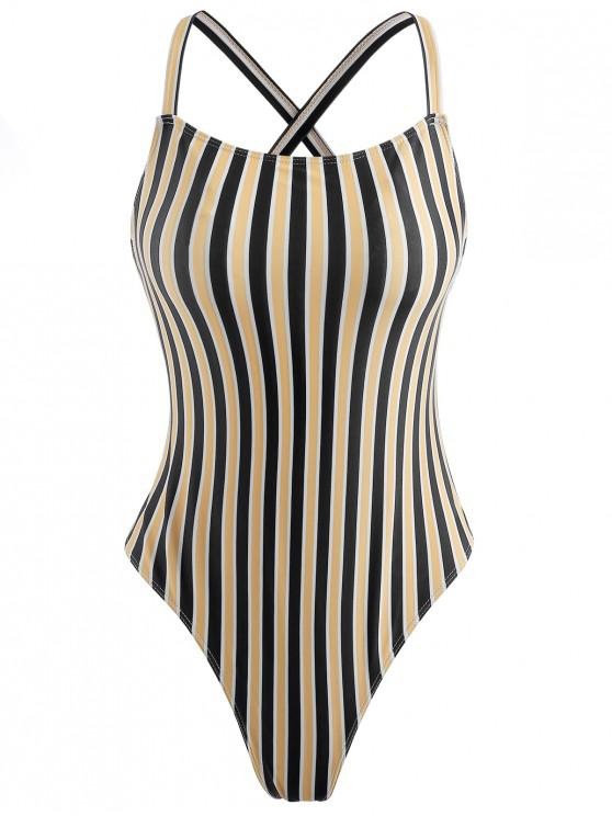 latest Unlined Striped One Piece Swimsuit - YELLOW L