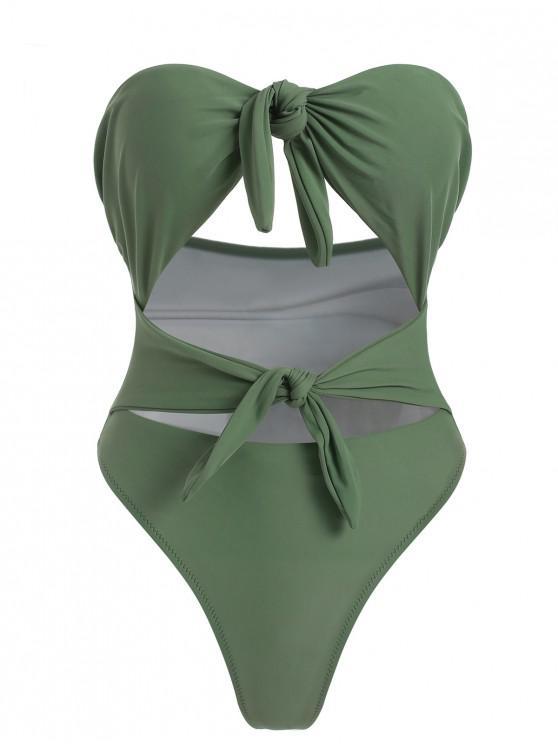 Costume Da Bagno Annodato Con Taglio Alto - Verde del Mare Nero M