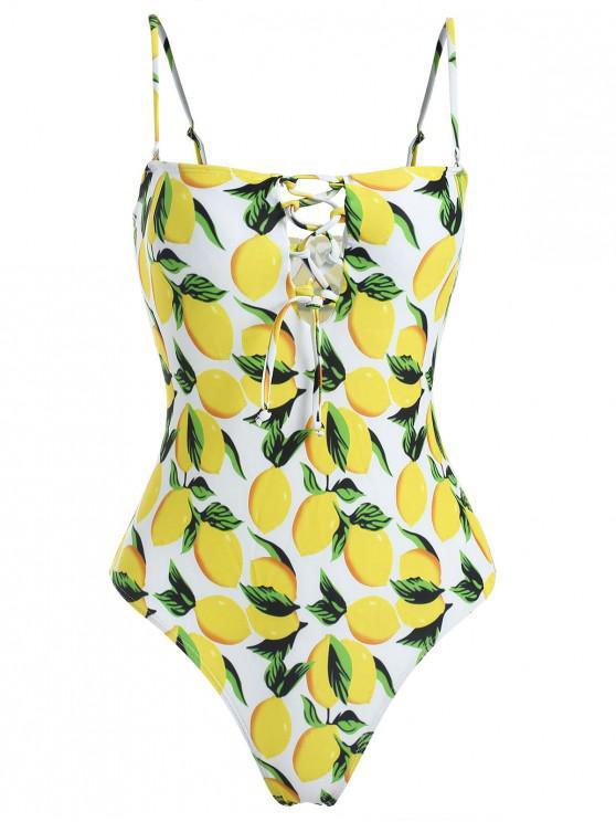 Zitrone Schnürung Hohes Bein Badeanzug - Gelb L