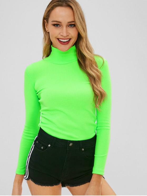 lady High Collar Slim Ribbed Neon Sweater - GREEN S