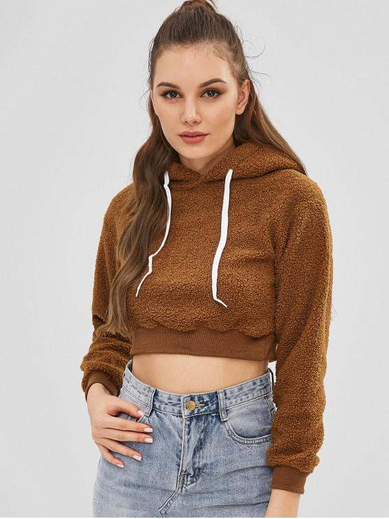 fashion Cropped Teddy Hoodie - DARK GOLDENROD M