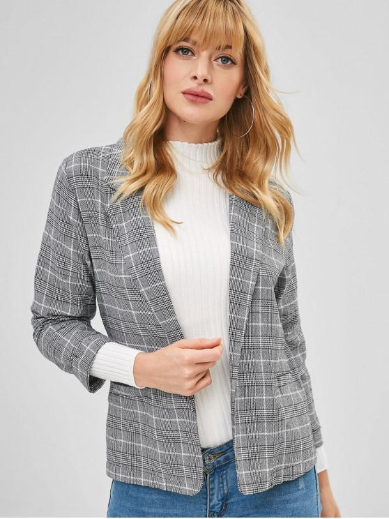 affordable Turn Up Sleeve Woven Houndstooth Blazer - MULTI M