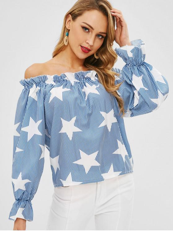 outfit Star Stripe Print Off The Shoulder Top - LIGHT BLUE M