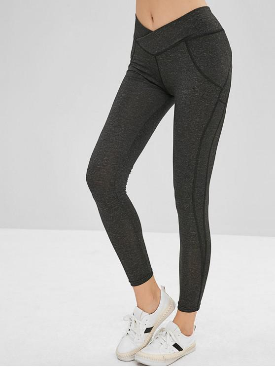 trendy Mid Waist Scrunch Leggings - GRAY L