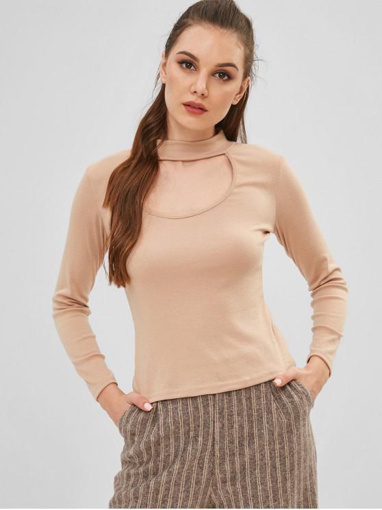 affordable Plain Long Sleeves Keyhole Tee - FALL LEAF BROWN L