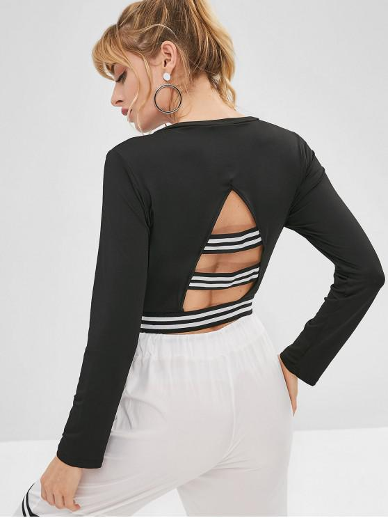 trendy Stripes Cut Out Cropped Tee - BLACK M