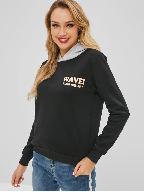 affordable Contrasting Hood Graphic Hoodie - BLACK XL