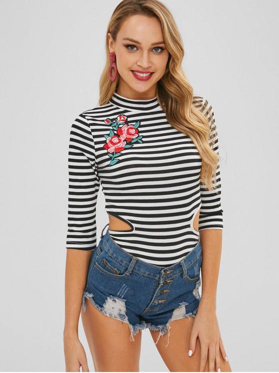 women Striped Mock Neck Cutout Snap Button Bodysuit - MULTI M