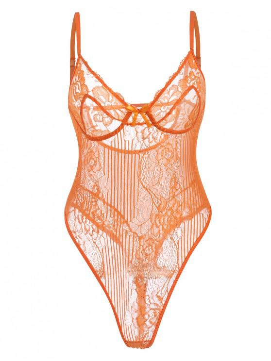 chic Lace See Through Cami Bodysuit - PUMPKIN ORANGE M
