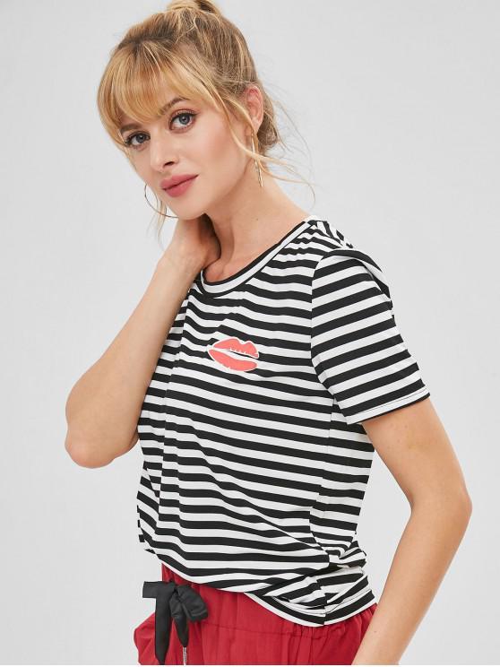 T-Shirt A Righe Grafica A Labbra - Multicolore XL