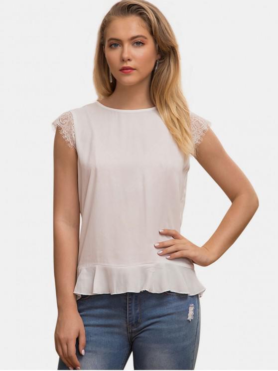women's Lace Panel Open Back Blouse - WHITE L