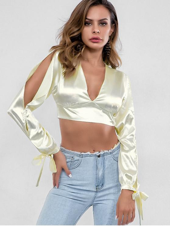 shop Shiny Tie Back Split Sleeve Crop Party Top - CORNSILK M