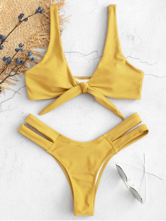 ed5fb9763e5be 39% OFF   HOT  2019 ZAFUL Cutout Tie Front Bikini Set In SUN YELLOW ...