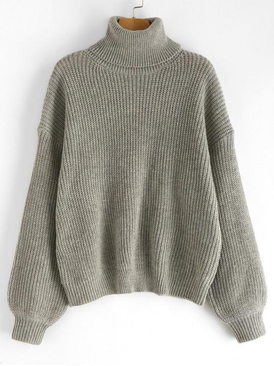 Suéter liso con hombros caídos con cuello alto - Gris Talla única