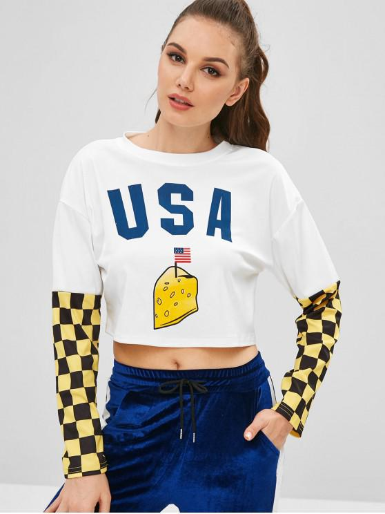 womens Checkered American Flag Cropped Tee - WHITE L