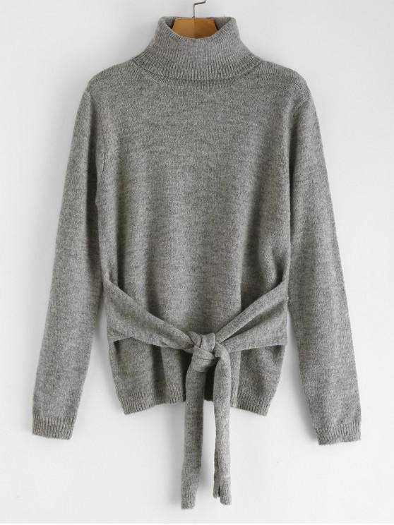 ladies ZAFUL Turtleneck Knotted Sweater - GRAY ONE SIZE