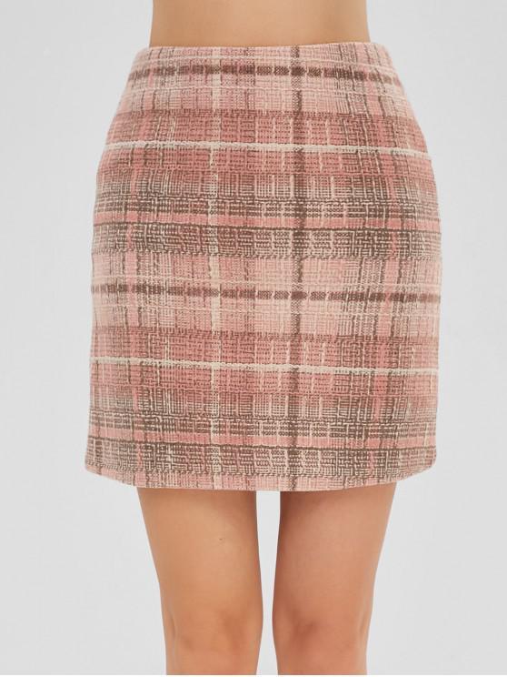lady Back Zipper Plaid Mini Skirt - MULTI M