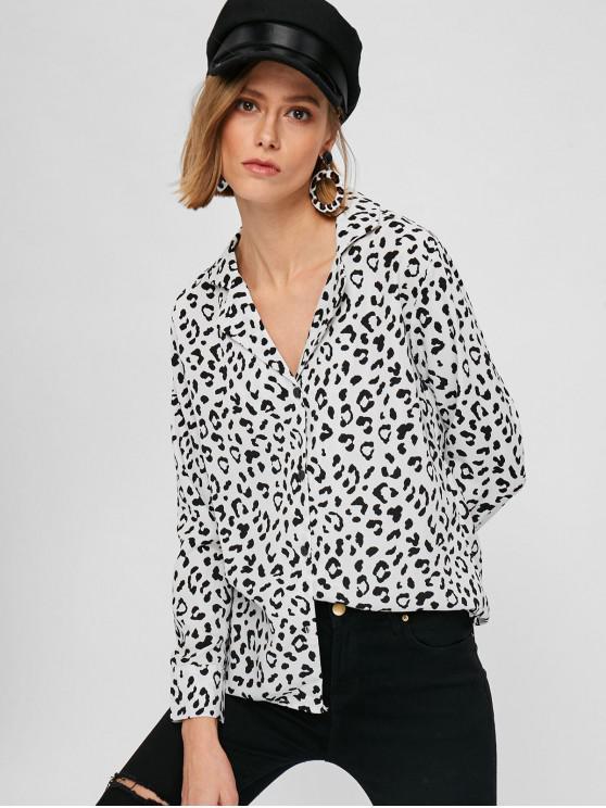 lady Lapel Button Up Leopard Shirt - MULTI S