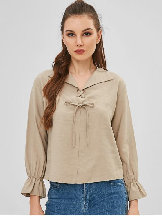 fashion Lace-up Long Sleeve Blouse - KHAKI ONE SIZE