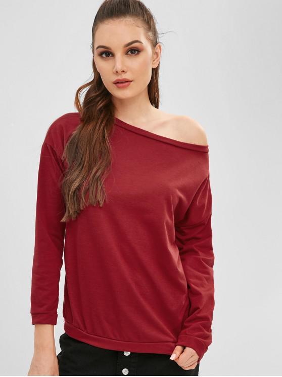 shops Cotton One Shoulder Sweatshirt - RED WINE ONE SIZE