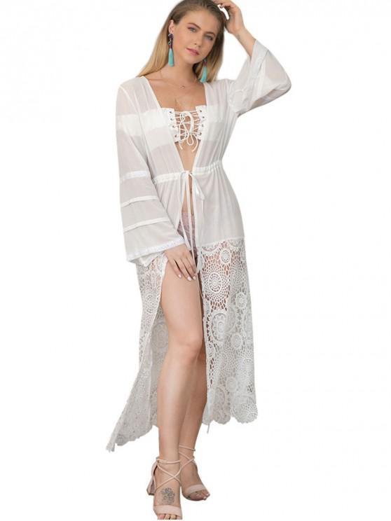 trendy Lace Panel Waist Drawstring Kimono - WHITE S