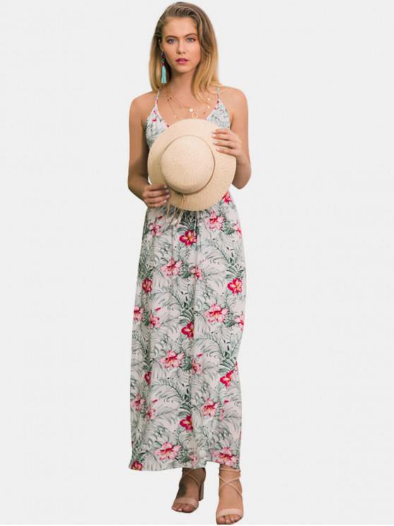 fashion Floral Leaf Print Tie Maxi Dress - WHITE M