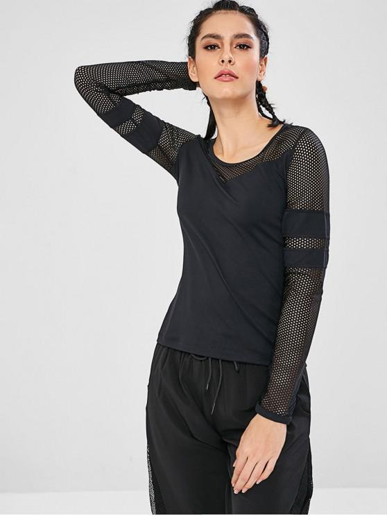 T-Shirt Sportiva Con Maniche Lunghe - Nero M
