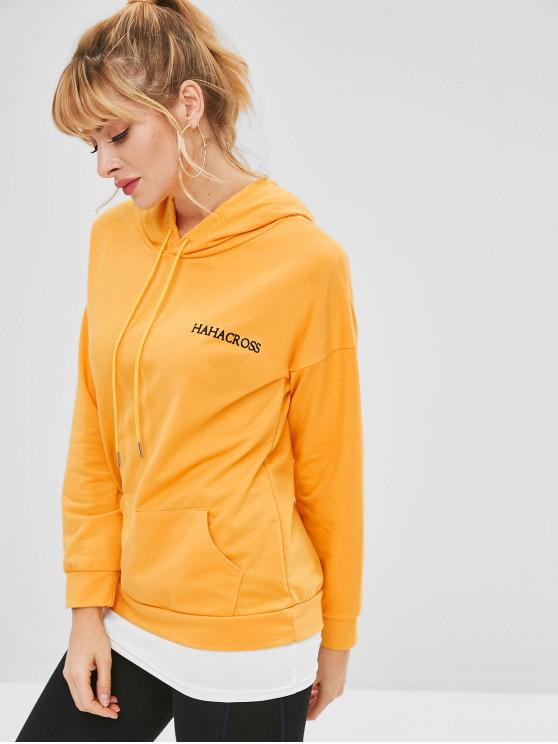 trendy Drop Shoulder Graphic Tunic Hoodie with Pocket - BEE YELLOW M