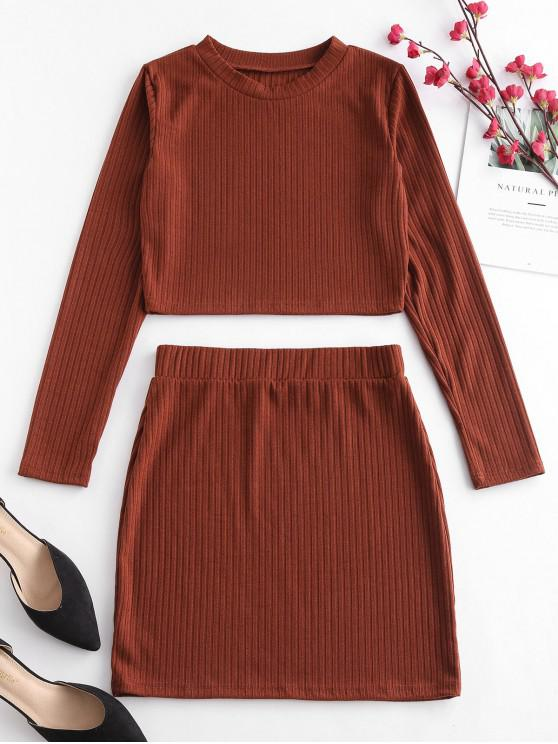 fancy ZAFUL Cropped Ribbed Top And Skirt Set - BROWN M