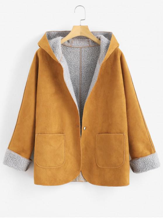 hot Cuffed Sleeves Hooded Sheepskin Coat - BEE YELLOW L
