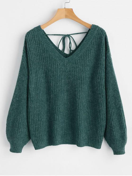 fashion Drop Shoulder V Neck Oversized Sweater - GREEN S