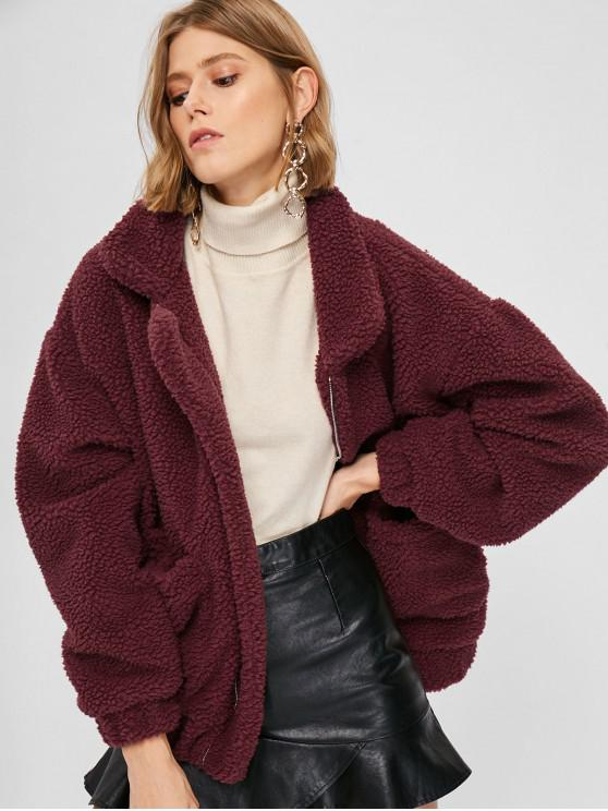 sale Fluffy Zip Up Winter Teddy Coat - RED WINE L