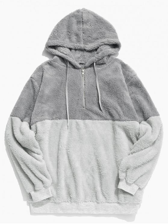 fancy Faux Fur Half Zip Panel Hoodie - LIGHT GRAY XL