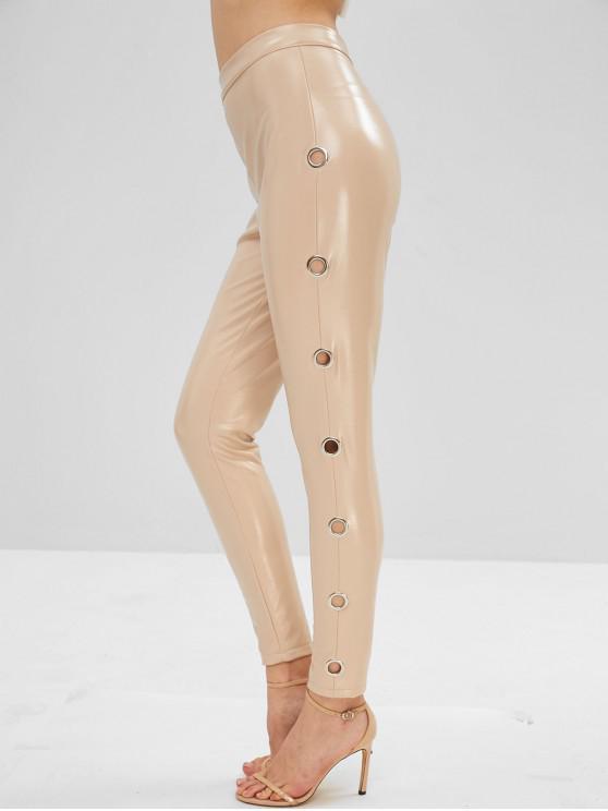 Pantalones de cuero de imitación lisos de ojal - Blanco Almendra S
