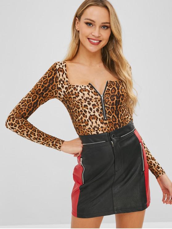 Body de cuello alto con encaje entrepierna tanga - Leopardo M