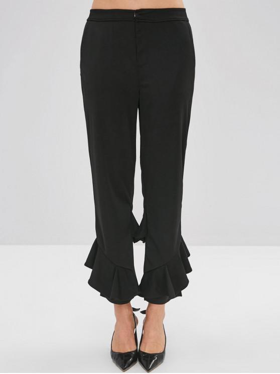 Pantalones de volantes rectos - Negro S