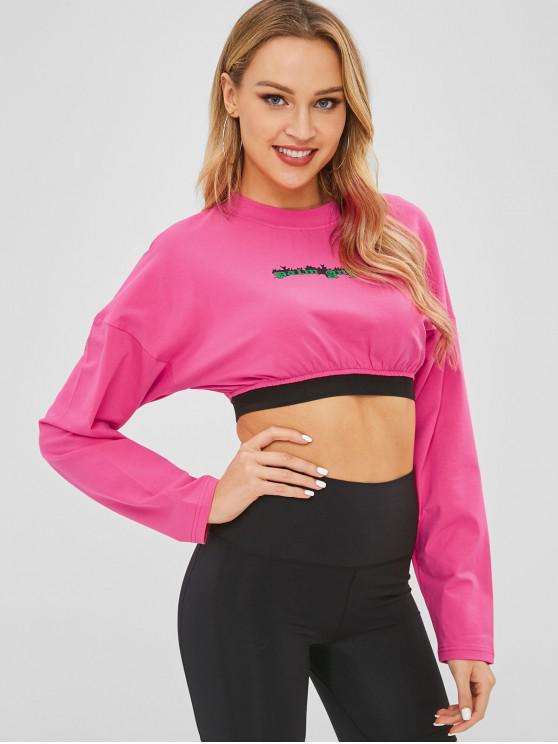 Укороченная футболка с буквами Drop Shoulder Letter - Розово-красный L
