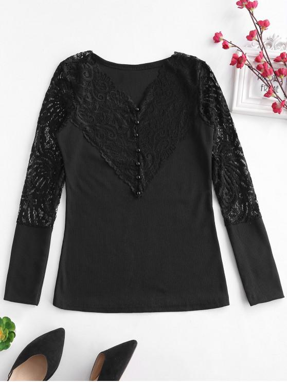 online Lace Panel Ribbed Top - BLACK M
