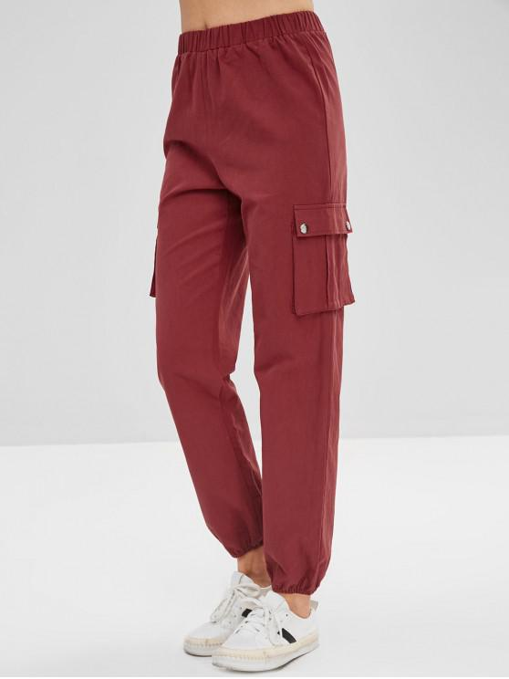ladies Side Pocket High Waisted Pants - RED WINE L