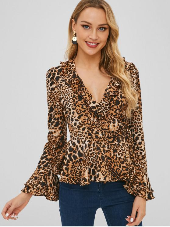 buy Self Tie Leopard Print Wrap Peplum Top - LEOPARD M