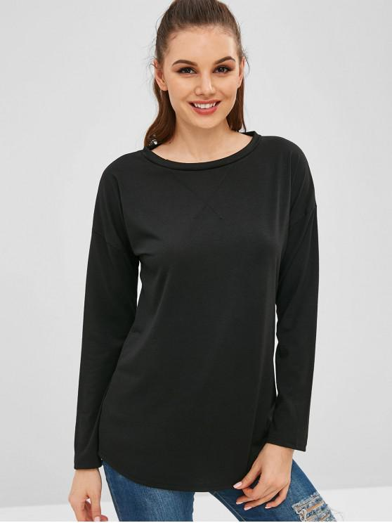 outfit Drop Shoulder Tunic Tee - BLACK S