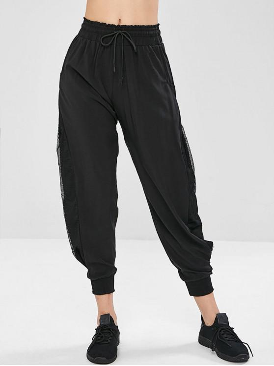 outfit Fishnet Insert Drawstring Ruffle Pants - BLACK M