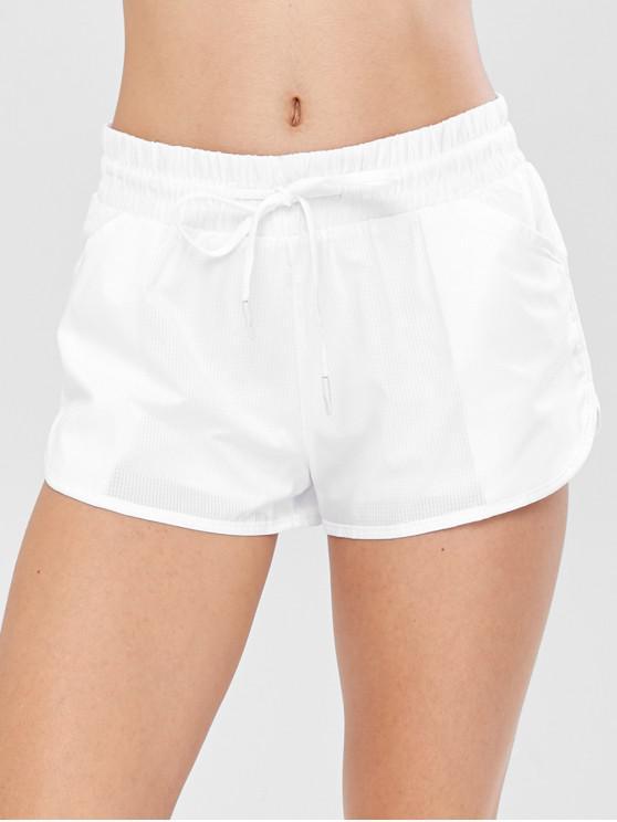 Pantalones cortos deportivos de entrenamiento a cuadros - Blanco L