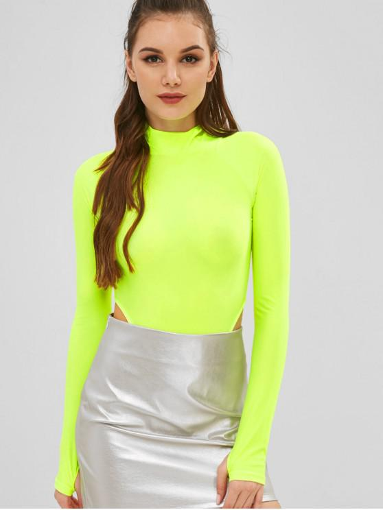 trendy Mock Neck Raglan Sleeve Bodysuit - GREEN YELLOW M
