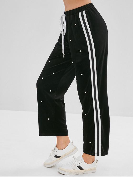 lady Beaded Side Striped Velvet Pants - BLACK S