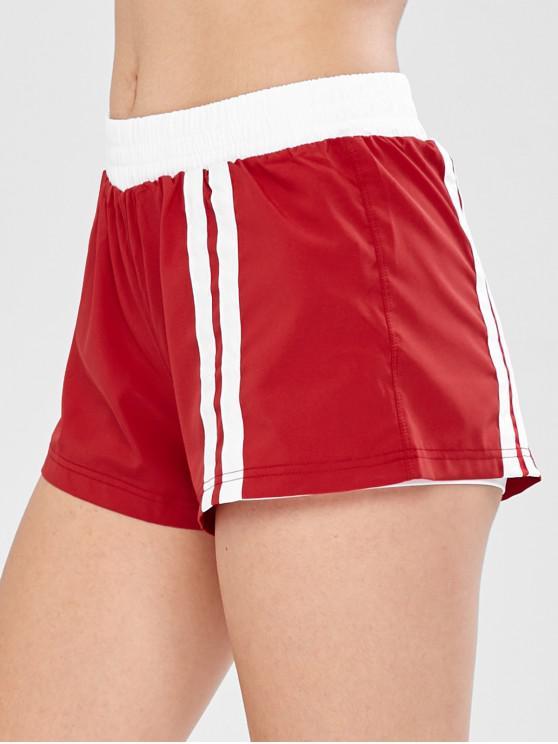 ladies Running Training Layered Shorts - RED M