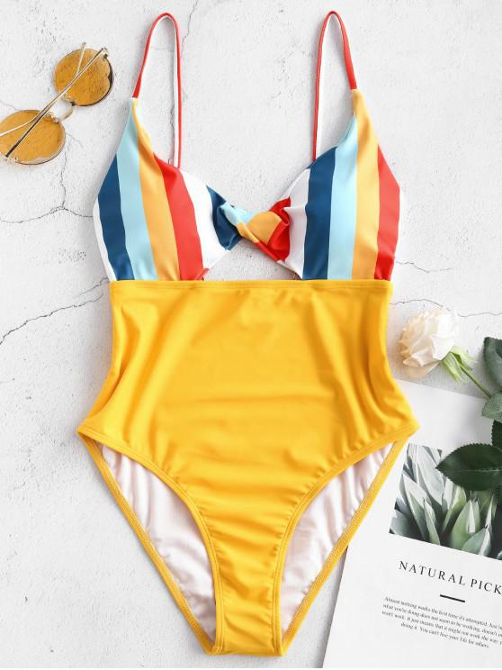 outfits ZAFUL High Cut Twist Colorful Striped Swimsuit - RUBBER DUCKY YELLOW M