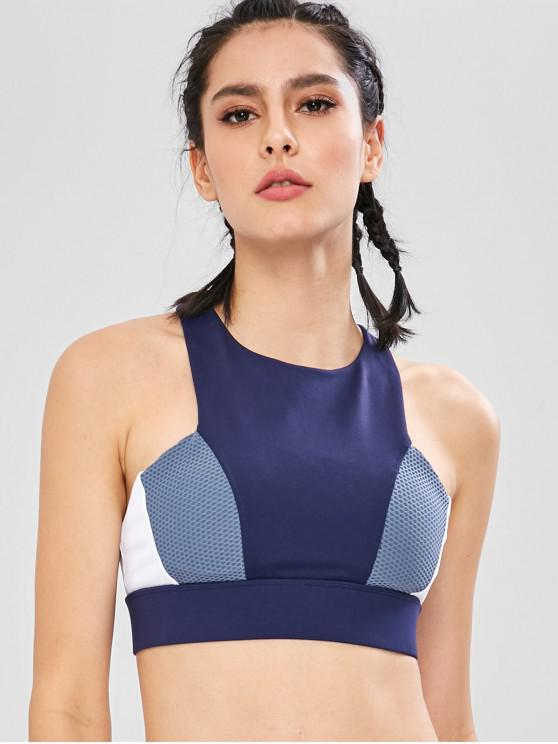 outfits Perforated Insert Color Block Bra - CADETBLUE M